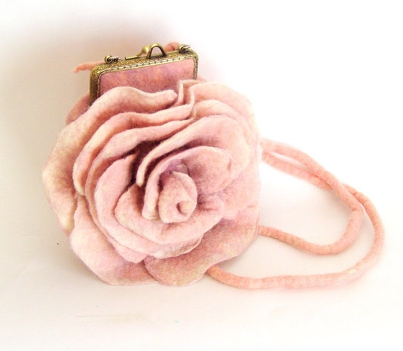 Felted handbag flower Pink Rosa