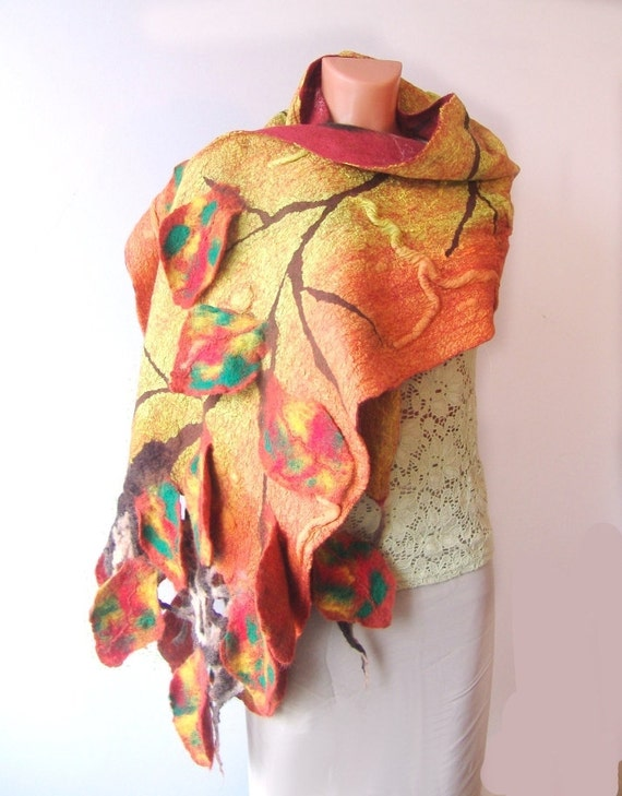 Nuno felted Scarf -   Autumn leaves Yellow