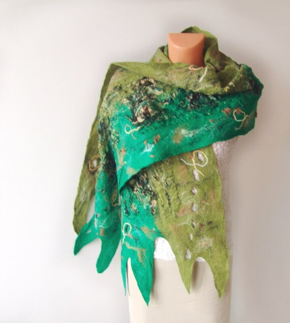 Nuno felted scarf   Green Forest