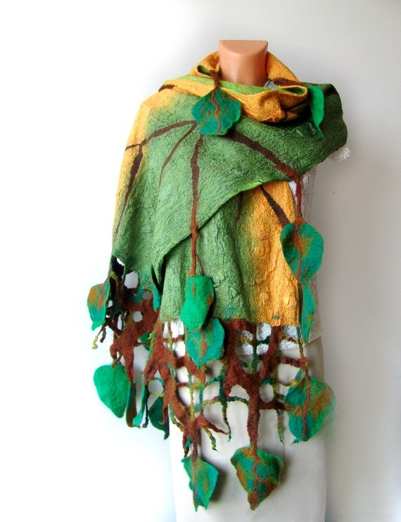 Nuno felted scarf  long Green leaves Autumn