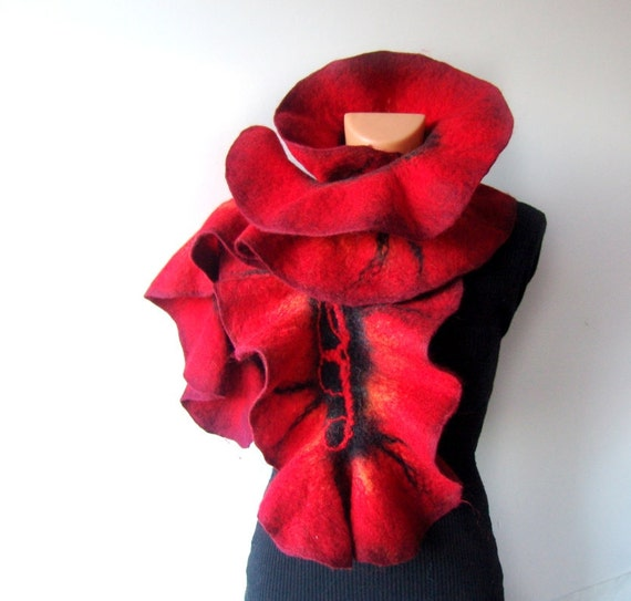 Felted scarf   ruffle collar  Red and Black   gift under 75