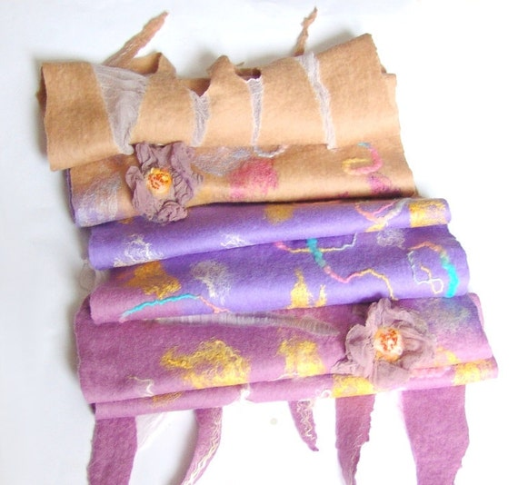 RESERVED for A. Nuno Felted scarf beige pink lilac