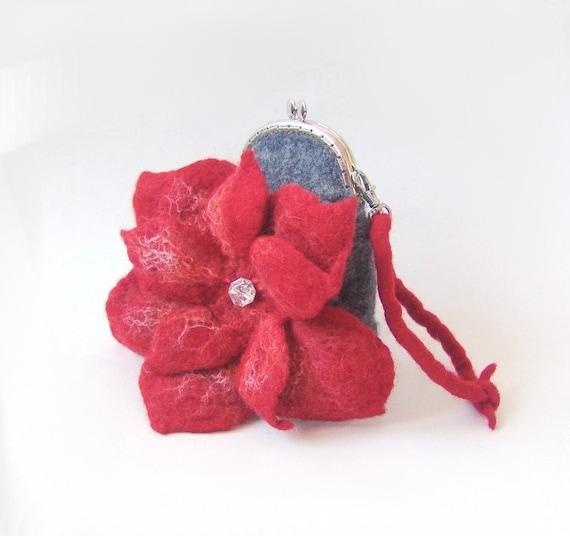Felted purse bag Clutch  Grey Red Flower Metal Frame with Bag Belt