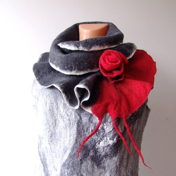 Felted scarf ruffle collar -  Grey red valentines gift under 50