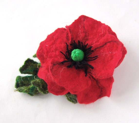 Brooch felt flower  poppy red  green