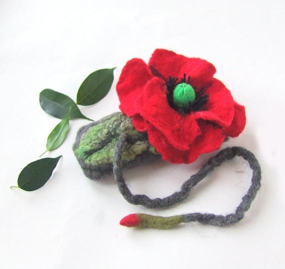 Felt Case Cell Phone and Eyeglasses  -Grey Poppy Red under 25