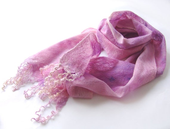 Felted scarf -  Pink Lavender Purple