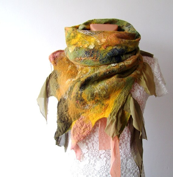 Nuno felted scarf  Green Yellow silk leaves
