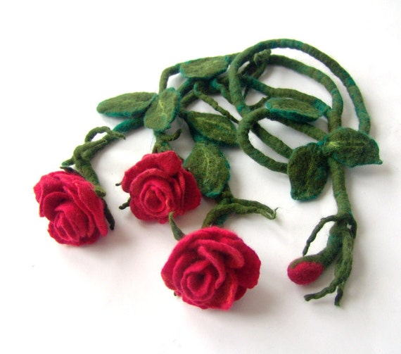 Necklace long felted flower  Roses red gift under 50