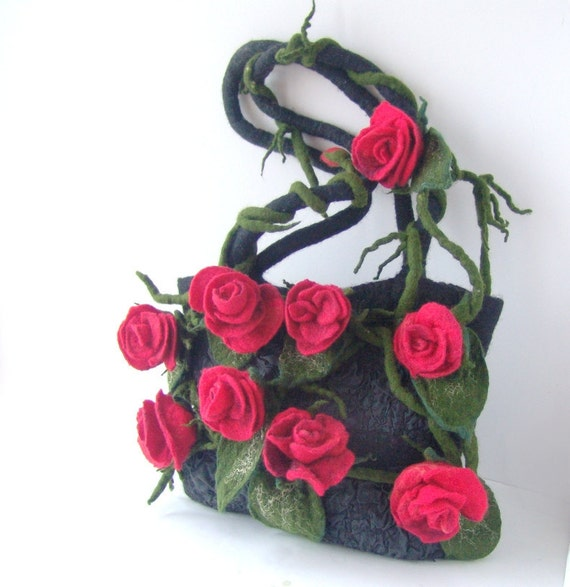 Felt handbag Dark Grey Red flower Rosa under 100