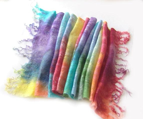 Cobweb Felted scarf -  Rainbow spring scarf