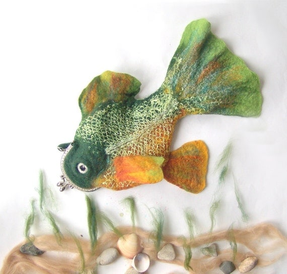 Felted fish purse cosmetic Green orange Metal Frame  octopurse