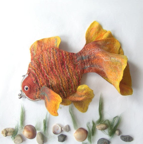 Felted fish purse cosmetic Golden  Fish  Yellow Red octopurse