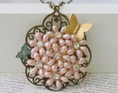 BUTTERFLY and PINK FLOWERS Vintage Cluster Collage Necklace
