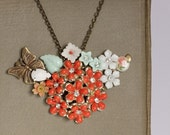 FREE SHIPPING - CORAL FLOWERS AND BUTTERFLY Vintage Collage Cluster Necklace