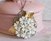 Flowers and Rhinestones Vintage Necklace