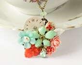 Garden Boutique Collection - Spring 2011 - Coral and Mint Vintage Collage Necklace