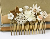 Old Hollywood Bride Big Vintage Collage Hair Comb