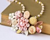 Soft Pinks - Vintage Collage Necklace
