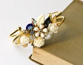 Reserved for Jessica only - Cuff Bracelet in Navy Blue, Cream and White Vintage Collage