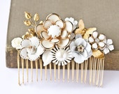 Bridal Hair Comb - Vintage Wedding Hair Comb, Shabby Chic Bridal Hair Accessories, White Cream Gold, Romantic, Something Old