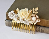 Bridal Hair Comb - Vintage Style Hair Comb, Ivory White Upcycle Collage Hair Comb Romantic Hair Comb
