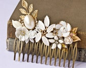 BLACK FRIDAY Christmas Gift Hair Comb, Vintage Bridal Hair Comb, Shabby Chic Wedding Accessories, Upcycle Collage Hair Comb, Free Shipping