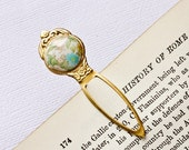 Romantic Bookmark Shabby chic Vintage Style Gold Brass and Pastel Flowers