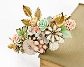 Shabby Chic Bracelet - Bridesmaid bracelet, wedding Jewelry, Wedding Bracelet, Vintage Bracelet, Collage Bracelet, Christmas Gift, Mint Pink