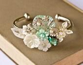 Bridal Bracelet - Silver Bracelet, Vintage Style Collage Bracelet, Something Blue, Wedding Bracelet, Shabby Chic Bridal Jewelry