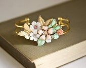 Shabby Chic Bracelet, Bridesmaid Bracelet, Bridesmaid Gift, Vintage Bracelet, Wedding Jewelry, Collage Cuff Bracelet Mint Green pink