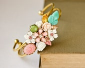 Christmas Gift - Shabby Chic Bracelet, Bridesmaid Gift, Bridesmaid Bracelet, Wedding Jewelry, Pink Green White Collage Vintage Bracelet