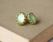 Mint Green Earrings - Shabby Chic Earrings, Post Earrings, Spring Vintage Style Earrings, Stud Earrings, Gold Earrings, Bridesmaid Gift