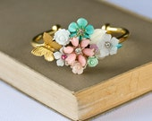 Gold Bracelet - Shabby Chic Bracelet, Pastel Floral Bracelet, Bridesmaid Gift, Bridesmaid Bracelet, Vintage Bracelet, Collage Bracelet