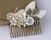Bridal Hair Comb - Silver Bridal Hair Accessories, White Wedding Bridal Shabby Chic Hair Comb, Romantic Hair Comb, Vintage, Something Old