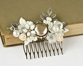 FREE SHIPPING Silver Bridal Hair Comb - White Hair Comb, Shabby Chic Hair Comb, Wedding Hair Comb, Vintage Hair Accessory, Something Old