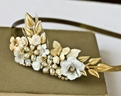 Bridal Headband - White Bridal Gold Headband, Bridal Hair Accessories, Shabby Chic Wedding Vintage Headband Free Shipping Black Friday