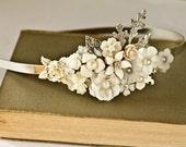 Bridal Headband - Bridal Hair Accessories, Vintage Headband, Shabby Chic Wedding Accessories, Silver Head piece Unique pearl, Something Old