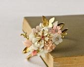 Bridal Bracelet - Pink Gold Cuff Bracelet, Something Old, Bridesmaids Gift, Vintage Shabby Chic Bracelet, Glamour Rhinestone Wedding Jewelry