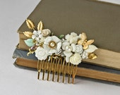 Reserved for Hope - Bridal Shabby Chic Hair Accessories White Hair Comb, Vintage Spring Summer Wedding Something Old, Collage Hair Comb