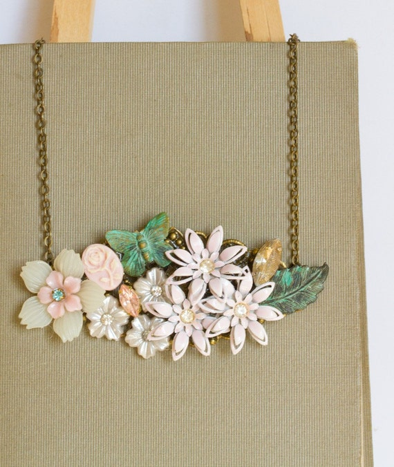 Green Butterfly Vintage Collage Necklace