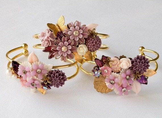FREE SHIPPING Bridesmaid Bracelet - Bridesmaid Gift, Shabby Chic Wedding Accessory, Vintage Bracelet, Autumn Wedding Bridal Jewelry Purple