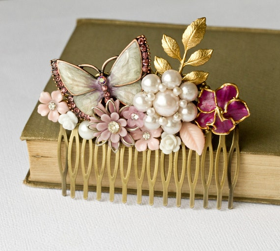 The Vintage Purple Butterfly Big Collage Hair Comb