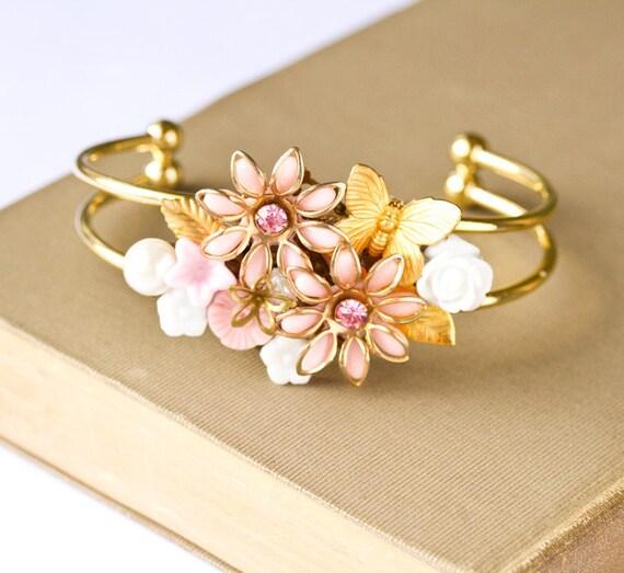 My Pink Garden Vintage Collage Bracelet