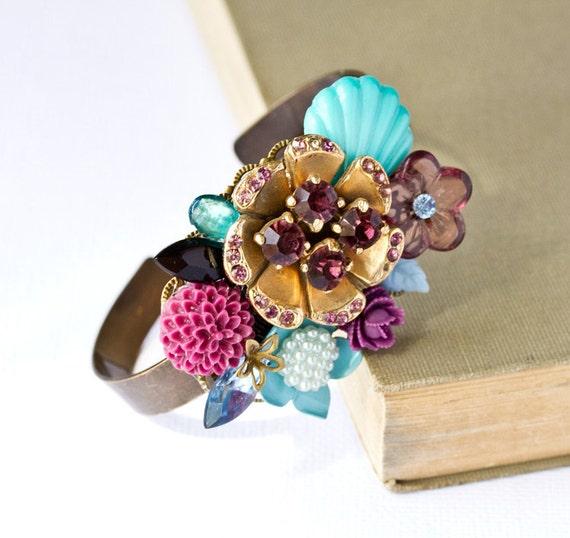 Purple and Teal Princess Vintage Collage Bracelet