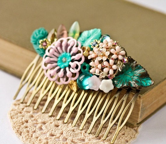 Shabby Chic Hair Comb - Vintage Hair Comb, Spring Collage Hair Comb, Statement Turquoise Aqua Pink Flowers, Romantic Hair Comb