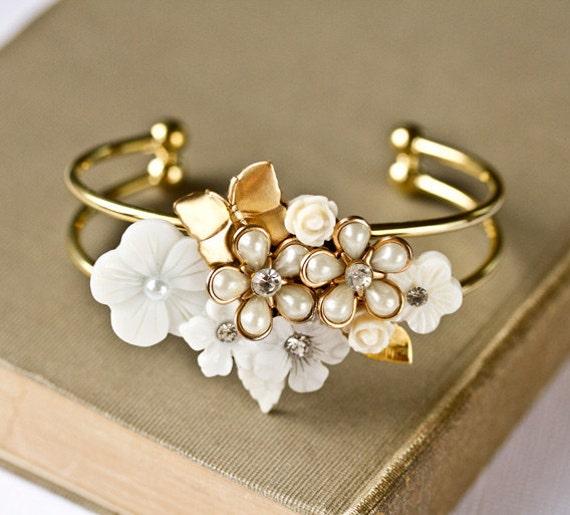 Reserved For Jordan -Bridal Bracelet - Shabby Chic Bracelet, Vintage Bracelet, Bridesmaid Gift, White Wedding Bracelet, Gold Mother of Pearl