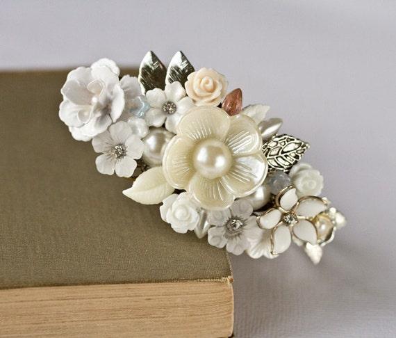 Reserved - Bridal Bracelet - Silver Bracelet, White Bracelet, Vintage bracelet, Wedding Jewelry, Romantic Bridal Jewelry, Collage
