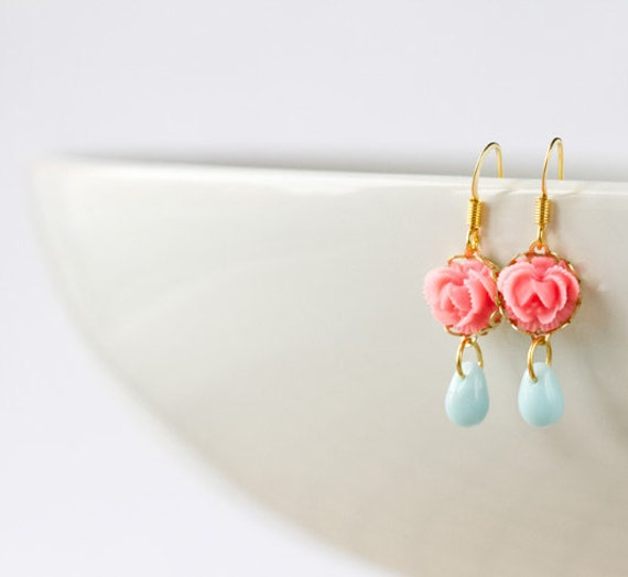 Spring Earrings -  Bridesmaids Earrings, Wedding earrings, Wedding Jewelry, Pink Coral Flower, Bridesmaids Gift, Pastel Blue Glass Earrings