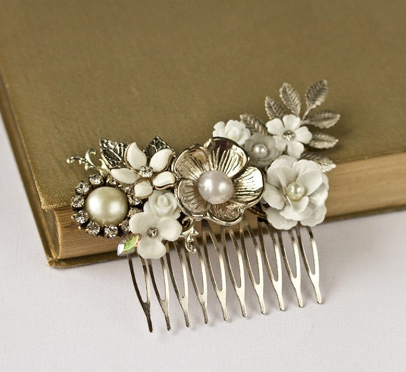 Bridal Hair Accessories - Vintage Silver Bridal Hair Comb, Wedding Hair Accessories Floral Head Piece, Old Hollywood, Something Old, Collage